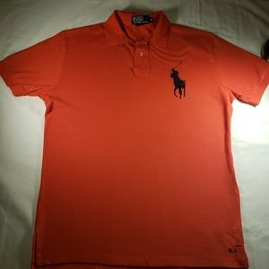 Ralph Lauren M Men's Polo Orange Black Big Pony 11